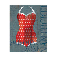 Dark Red Polka Dots Swimsuit