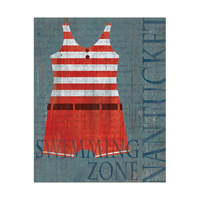 Vintage Male Swimsuit Red Stripes - Nantucket