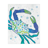 Watercolor Crab Blue Green And Teal