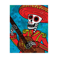 Skeleton and Guitar - Red