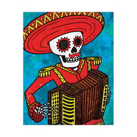 Skeleton and Accordion - Red