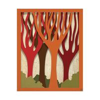 Autumn Trees on Wood