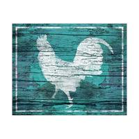 Box Rooster Aqua - Wood