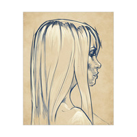 Indigo on Sepia Young Woman Portrait Sketch