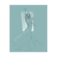 Dancer Twirling on Teal
