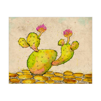 Blooming Cactus On Pebbles Alpha