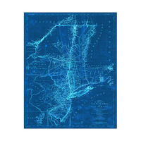 Blue Vintage New York Map