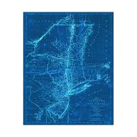 Blue Vintage New York Map