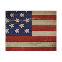 American Flag on Wood Horizontal