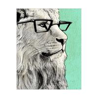 Green Stripes Hipster Lion