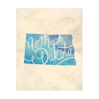 Vintage Map North Dakota Blue