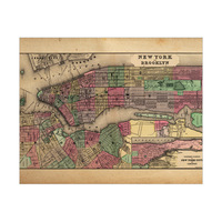 Vintage New York and Brooklyn Map