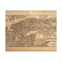Sepia New York and Brooklyn Map