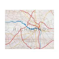 Richmond City Map on Wood