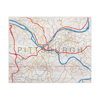 Pittsburgh Map on Wood