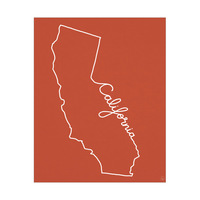 California Script on Red