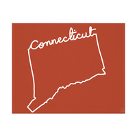 Connecticut Script on Red