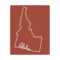Idaho Script on Red