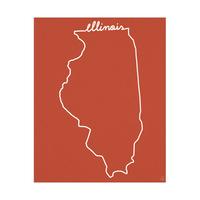 Illinois Script on Red