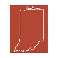 Indiana Script on Red