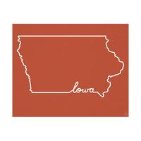 Iowa Script on Red