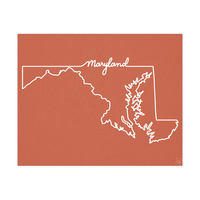 Maryland Script on Red