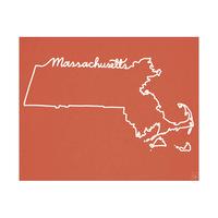 Massachusetts Script on Red