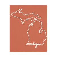 Michigan Script on Red