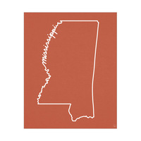 Mississippi Script on Red