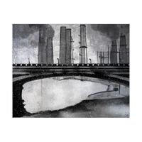 Industrial City Bridge Black and White