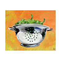 Chrome Colander With Peppers