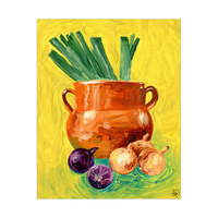 Pot With Onions And Leeks