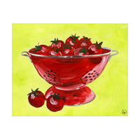 Red Colander With Tomatoes