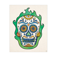 Green Fire Flower Calavera