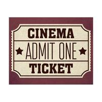 Cinema Admit One Ticket Burgundy