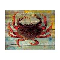 Cardinal Crab on Cobalt Plank