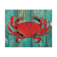Persimmon Crab on Teal Plank