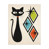 Retro Cat With Diamonds Green Blue And Orange