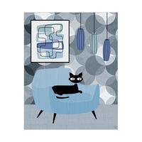 Neutral Mono Blue Wallpaper Cat