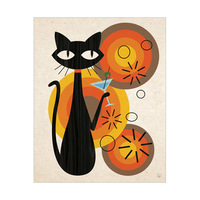 Martini Cat with Dots Orange