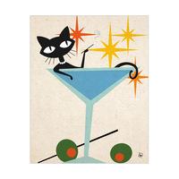 Cat in Martini Bath Orange