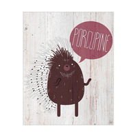 Porcupine on Wood
