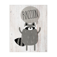 Raccoon on Wood