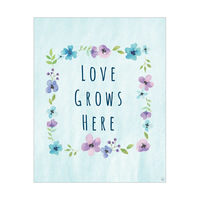 Love Grows Here Blue Flower Frame