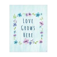 Love Grows Here Blue Flower Frame