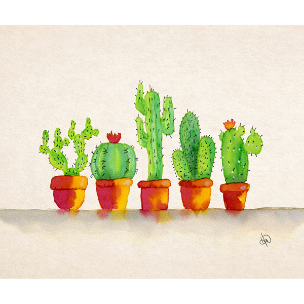 Row Of Potted Cacti Alpha
