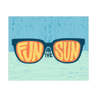 Fun in the Sun on Shades Blue Background