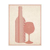 Wine Set Wave Silhouette - Vintage
