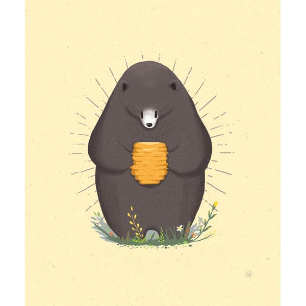 Bear Finding Honey - Yellow